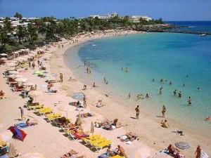 Popular beach in Playa Blanca, Lanzarote